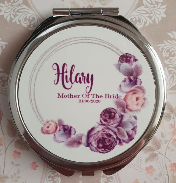 Personalised Wedding Compact Mirror - Design 10